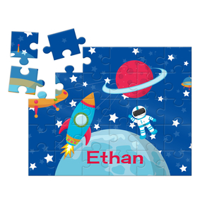 Space Ship & Rocket Astronaut Personalized Kids Puzzle