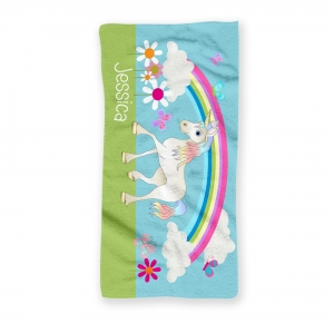 Unicorn Personalized Kids Beach Towel