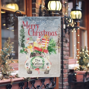 Personalized Christmas White Car Flag