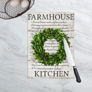 Farmhouse Kitchen Boxwood Wreath Cutting Board