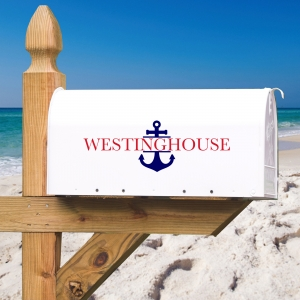 Anchors Aweigh Personalized Address Vinyl Mailbox Decal