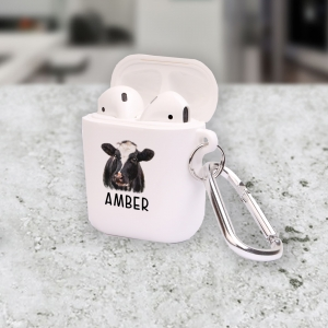 Personalized Black Cow Apple AirPods Case