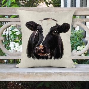 Black Cow - Farmhouse Poly/Linen Pillow Cover