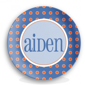 Blue Dots Boys Personalized Plate