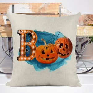 Boo! Pumpkins & Spiders Halloween Poly/Linen Pillow Cover Halloween Decor