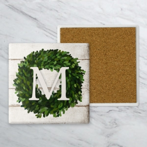 Boxwood Wreath Personalized Farmhouse Coaster Set