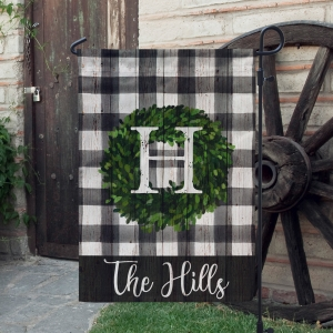 Boxwood Wreath Buffalo Plaid Personalized Farmhouse Garden Flag