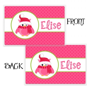 Chilly Owl Personalized Christmas Placemat