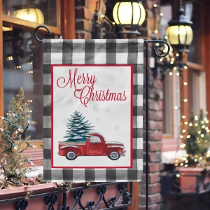 Christmas Red Truck Buffalo Plaid  Garden Flag