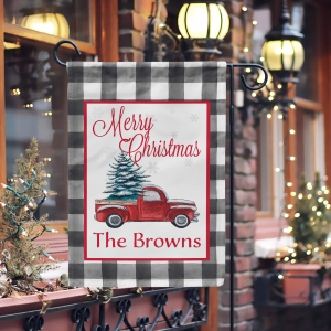 Christmas Red Truck Buffalo Plaid Personalized Garden Flag