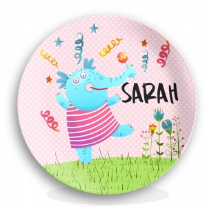 Dancing Elephant Personalized Girls Plate