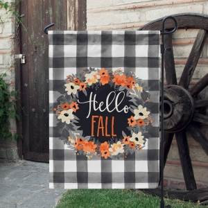 Fall Wreath - Hello Personalized Garden Flag