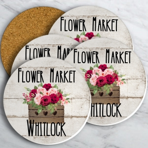 Flower Market Personalized Farmhouse Coaster Set