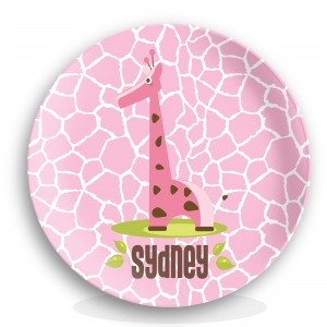 Girls Pink Giraffe Personalized Plate