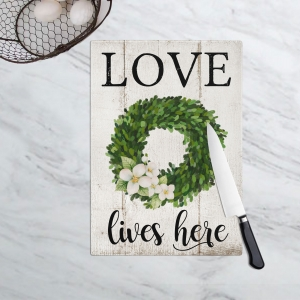 Love Lives Here Boxwood Wreath Cutting Board