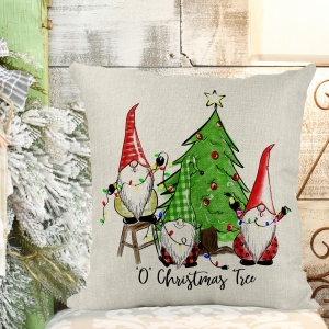 Oh Christmas Tree -Gnomes Poly/Linen Pillow Cover