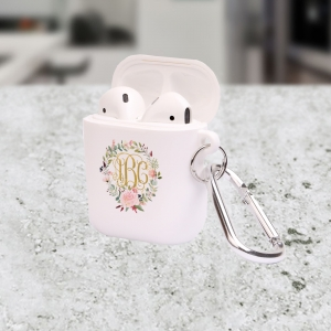 Personalized Peonies Wreath Apple AirPods Case