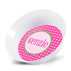 Pink Dots Girls Personalized Bowl