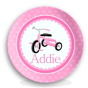 Pink Tricycle Girls Personalized Plate