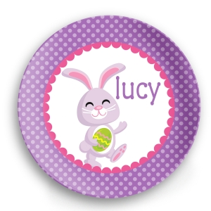 Purple Bunny Girls Personalized Easter Plate