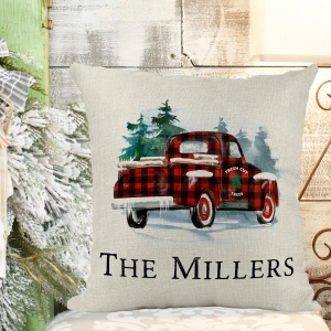 Christmas Red Truck Buffalo Plaid Poly/Linen Personalized Pillow Cover Christmas Decor