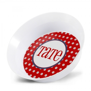 Red Dot Boys Personalized Bowl