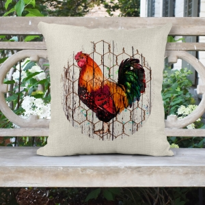 Rooster - Farmhouse Poly/Linen Pillow Cover