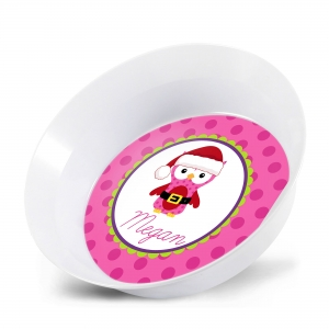 Santa Owl Personalized Christmas Bowl