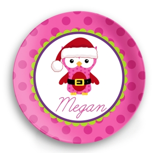 Santa Owl Personalized Christmas Plate