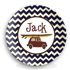 Surfing Dog Boys Personalized Plate