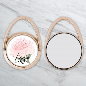 Sweet Peony Personalized Phone Ring Stand Rose Gold