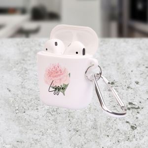 Personalized Sweet Peony Floral Apple AirPods Case