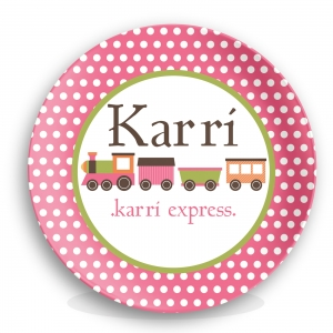 Train Girls Personalized Plate