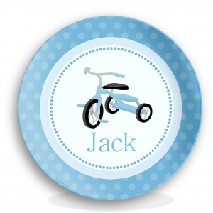 Tricycle Boys Personalized Plate