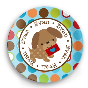Valentine Puppy Boy Personalized Plate
