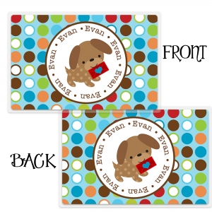 Valentine Puppy Boy Personalized Placemat