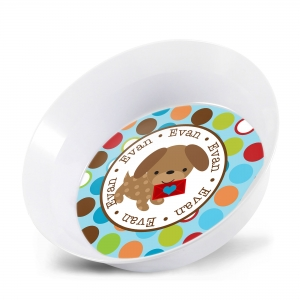 Valentine Puppy Boy Personalized Bowl