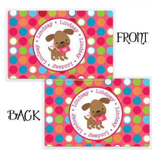 Valentine Puppy Girl Personalized Placemat