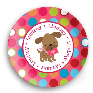 Valentine Puppy Girl Personalized Plate