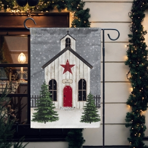 Vintage Christmas Church  Garden Flag