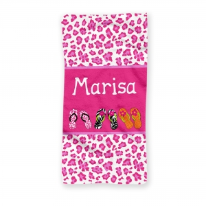 Pink Cheetah Flips Flops Personalized Beach Towel