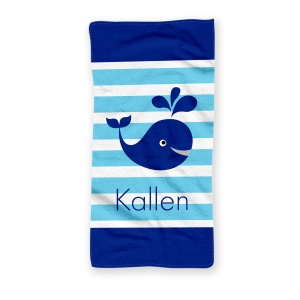Whale Boy Personalized Kids Beach Towel