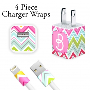 Multi Color Chevrons Personalized Charger Wrap