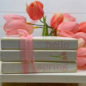 Hello Spring Mini Book Stack Tiered Tray Decor