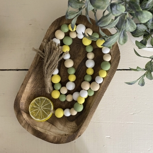 Lemon Beaded Farmhouse Garland Tiered Tray