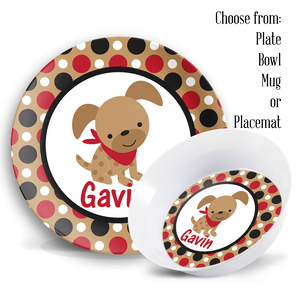 Puppy Boys Personalized Plate Set