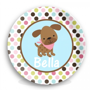 Puppy Girls Personalized Plate
