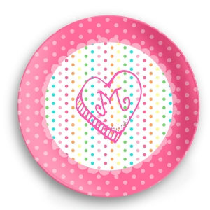 Rainbow Heart Personalized Valentine Plate