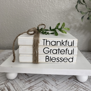 Thankful Grateful Blessed Mini Book Stack Tiered Tray Decor