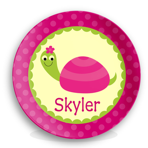 Girls Personalized Turtle Plate
